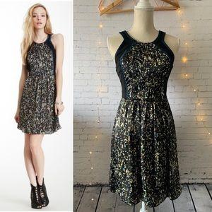 Rebecca Taylor Sequin Print Colorblock Dress